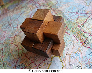 logic 3D puzzle toy - logic 3D wooden puzzle toy on the map