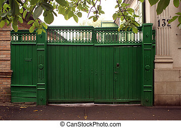 Green gate - Greeen gate of old house in Eysk, Azov sea...