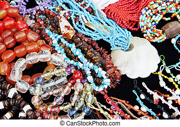 Jewelery - Display of ethnic handmade beaded jewelery