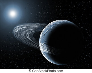 Planetarium - Planet with ring in the universe with the sun