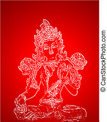 indian deity - shiva - indian deity silhouettes over red...