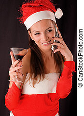Portrait Santa Girl - Portrait santa girl drinking red wine...