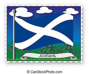 Stamp Scotland - Stamp with flag from Scotland