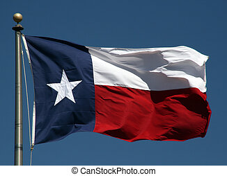 Texas Flag - A Texas flag flapping boldly in the wind