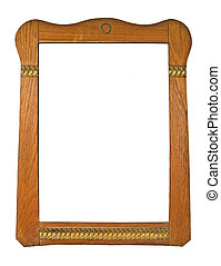 Retro Frame - Wood Frame on White Background