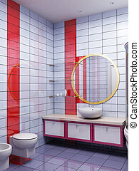 3d bathroom rendering - 3d rendering of the modern bathroom