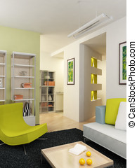 modern interior - The computer generated 3D image of the...