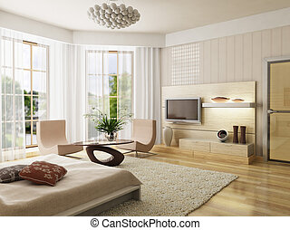 bedroom interior rendering - 3d rendering of the modern...
