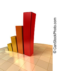 3d growth chart - 3d rendering of the growth chart