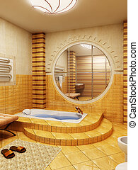 Morocco\\\'s style bathroom - 3d rendering of the bathroom...
