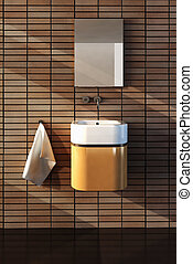bathroom interior - 3d rendering of the bathroom interior in...