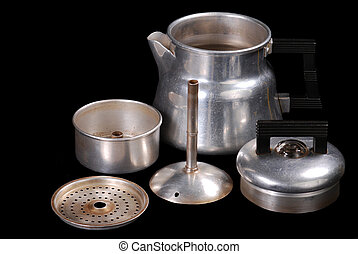Percolator Parts - Disassembled view of vintage mini...