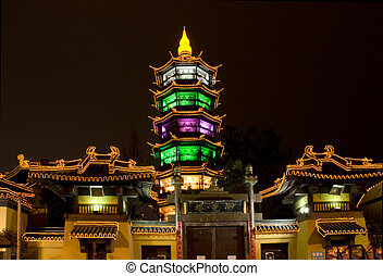 Wuxi China Taoist Temple - Taoist Temple at Night Chengzhong...