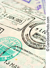 Passport background - Macro / selective focus image of...