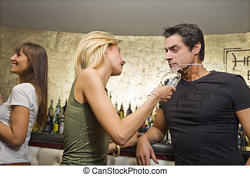girls night out: horny guy flirting with a girl...without...