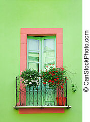 home sweet home: green window against a green wall
