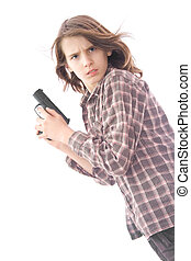 Boy gun series - A photo of long haired teenager who holds...