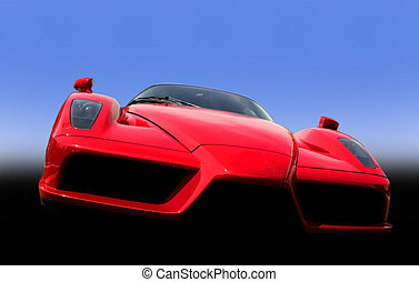 Red Exotic Sports Car - red exotic sports car with blue...