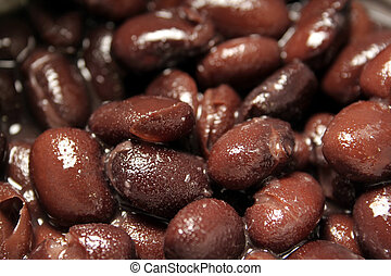 Black Beans Up Close - A close up shot of canned juicy black...