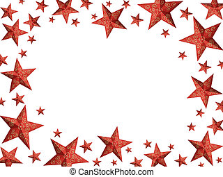 Bright red Christmas stars frame - isolated