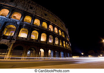 Coliseum at night - Photograph of the Roman Coliseum at...