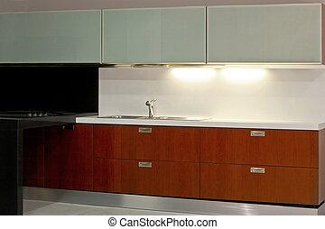 Kitchen elegant - New modern kitchen with metal and glass