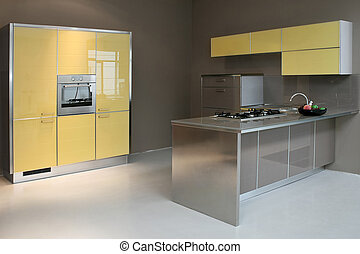 Kitchen new - New modern kitchen in yellow with metal