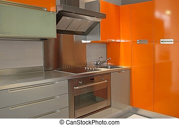 Kitchen orange - New modern kitchen in orange with metal