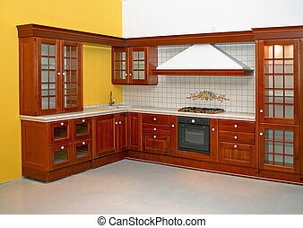 Wooden kitchen - Big and new traditional look wooden kitchen