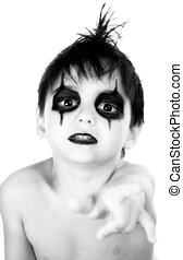 Adorable Goth Boy - Black and white portrait of adorable...