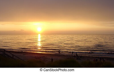 Lake Huron Sunset - A beautiful sunset with people...