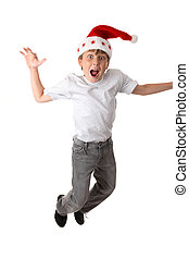 Crazy Christmas - Excited crazy boy wearing a santa hat -...