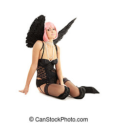 black lingerie angel with pink hair over white