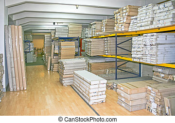Wholesaler shelf - Big warehouse storage room with boxes and...