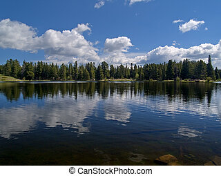 Lake Reflecting Clouds - Sprague Lake, Rocky Mountain...