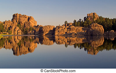 Sylvan Lake Reflection - Sylvan Lake, Custer State Park....