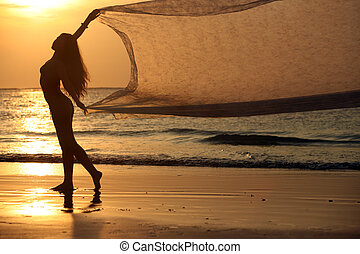 Wings - The beautiful woman on a coast on a sunset
