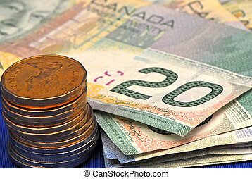 money - canadian coin and bills