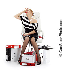 stressed businesswoman in chair over white - picture of...