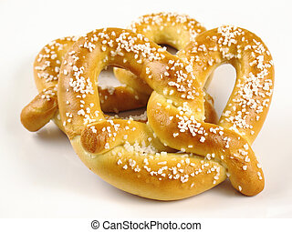 Two Soft Pretzels - Two warm and chewy salted soft pretzels