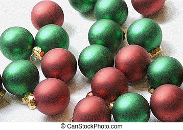 Mosiac balls - Red and green shiny Christmas baubles ready...