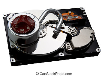 Unlocked Hard Drive - An exposed hard drive platter with an...