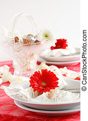 Romantic table setting - Romantic arrangement with candies...