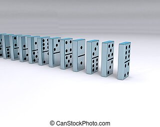 Dominos - A queue of chrome dominoes