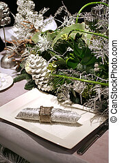christmas decoration for celebration - christmas table with...