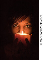 Candle portrait - Portrait a young sensual girl with candle,...