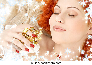 dreaming redhead with white christmas bells snowflakes -...