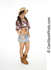 Cowgirl - Very sexy Caucasian woman dresses as a cowgirl...
