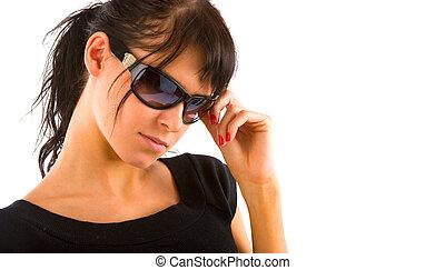 Fashion girl portrait - Fashion brunette in sun glasses