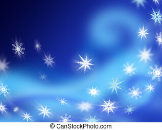 Swirling Snowflakes - Snowflakes swirling against an...